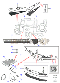 Defender Black - Exterior Trim Part Diagram