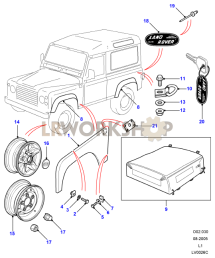 Defender Black - Body And Wheels Part Diagram