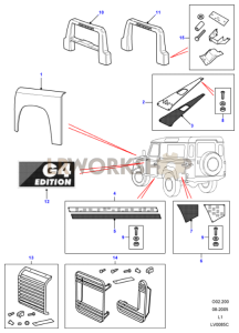 G4 LE - Exterior Trim Part Diagram