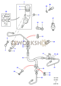 Clutch Master Cylinder & Pipes Part Diagram