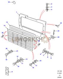 Radiator Grille Part Diagram