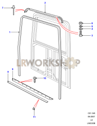 Rear End Door Seals Part Diagram