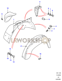 Front Wheelarch and Eyebrow Part Diagram
