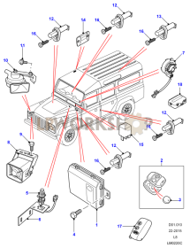 Alarm, Immobiliser and Remote Locking System Part Diagram