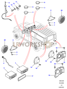 Radio, Speakers and Aerial Part Diagram