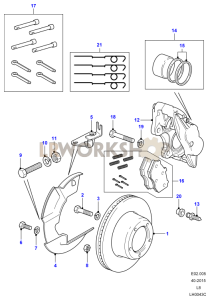 Front Brake Calipers and Discs Part Diagram