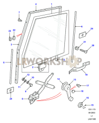Front Door Glass & Regulator Part Diagram