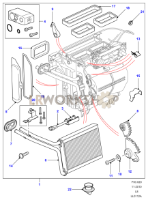 Heater/Air Conditioning Assembly and Components Part Diagram