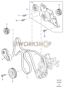 Drive Belts & Pulleys without Air Con Part Diagram