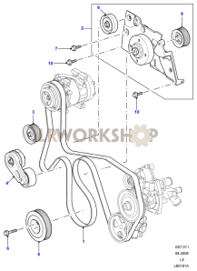 Drive Belts & Pulleys with Air Con Part Diagram