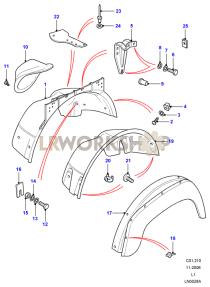 Front Wheelarch & Eyebrow - Galvanized Part Diagram