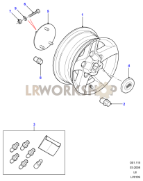 Wheels and Spare Wheel Carrier Part Diagram