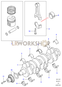 Crankshaft, Pistons and Bearings Part Diagram