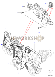 Drive Belts Pulleys without Air Con Part Diagram