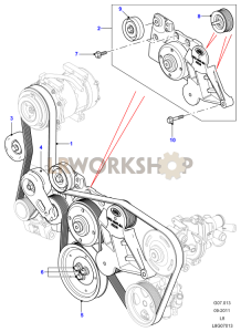 Drive Belts Pulleys with Air Con Part Diagram