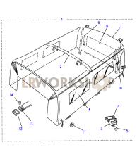 Hood Assy Canvas - Bulkhead Fixing Part Diagram