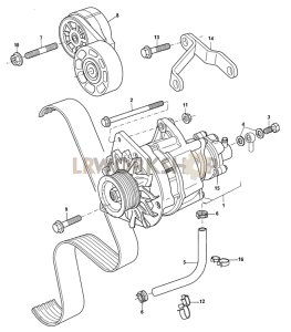 Alternator and Auxiliary Belt Part Diagram