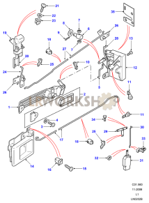 Rear Side Door Latch Mechanism Part Diagram