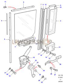 Rear Side Door - Window Regulator Assembly Part Diagram