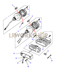 Rear Lamps - Brake/stop, tail and numberplate Part Diagram