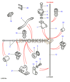 Rear brake pipes Part Diagram