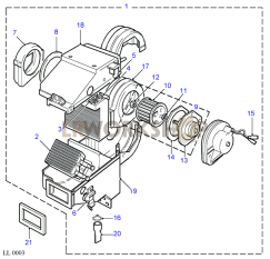 Evaporator Assembly - RHD Part Diagram