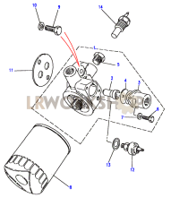 Oil Filter with Oil Cooler Adaptor Part Diagram