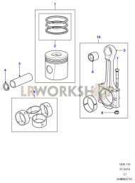 Piston, Connecting Rod & Bearings Part Diagram