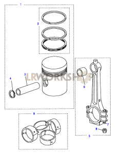 Piston, Connecting Rod & Bearings Part Diagram