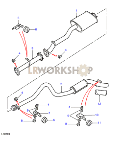 Rear Exhaust Pipes Part Diagram