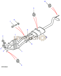 Front and Rear Exhaust Pipes Part Diagram