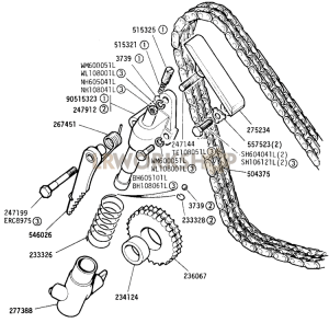 Timing Chain and Tensioner Part Diagram