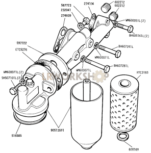 Oil Filter and Adaptor Part Diagram