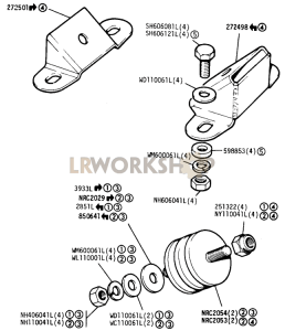 Mountings and Rubbers Part Diagram
