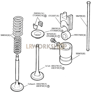 Valves and Tappets Part Diagram