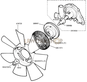 Water Pump and Viscous Fan Part Diagram