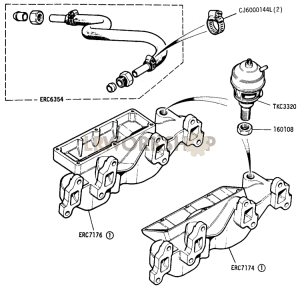 Exhaust Manifold and EGR valve Part Diagram