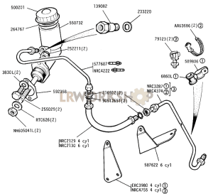Master Cylinder and Pipes Part Diagram