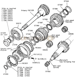 Primary Pinion, 2nd and 3rd Mainshaft Gears Part Diagram