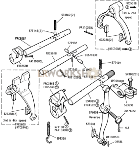 Selector Shafts and Levers, Main Gearbox Part Diagram