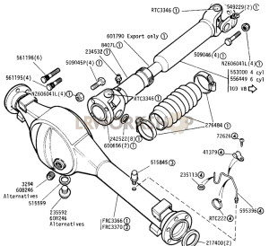 Front Axle and Propshaft Part Diagram