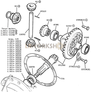Front and Rear - Differential Crown Wheel and Pinion Part Diagram