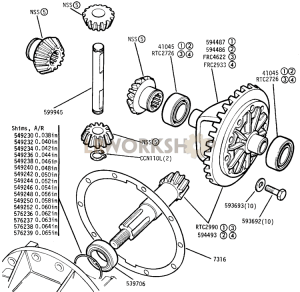 Differential Crown Wheel and Pinion Part Diagram