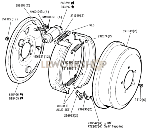 Rear Pads & Drums Part Diagram