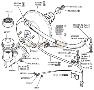 Master Cylinder and Servo Part Diagram