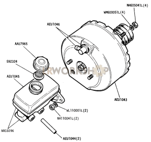 Brake Master Cylinder and Servo Unit Part Diagram