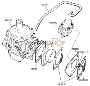 DETOXED ENGINE - Carburetter and Fixings Part Diagram
