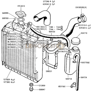 Radiator and Hoses Part Diagram