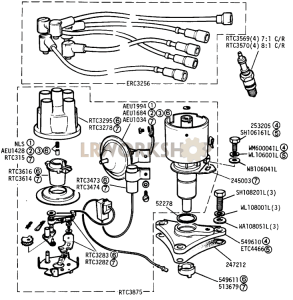 Distributor and High Tension Leads Part Diagram
