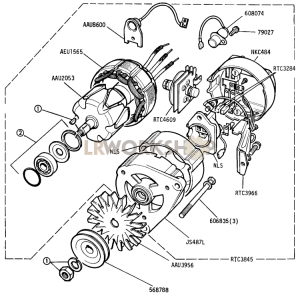 Alternator - 16 ACR 12 Volt 34 Amp Battery Sensed Part Diagram